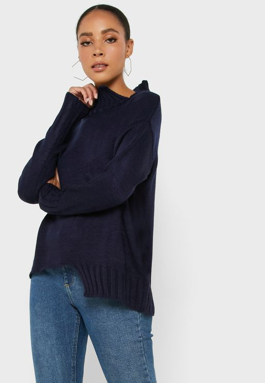 High Neck Split Detail Sweater