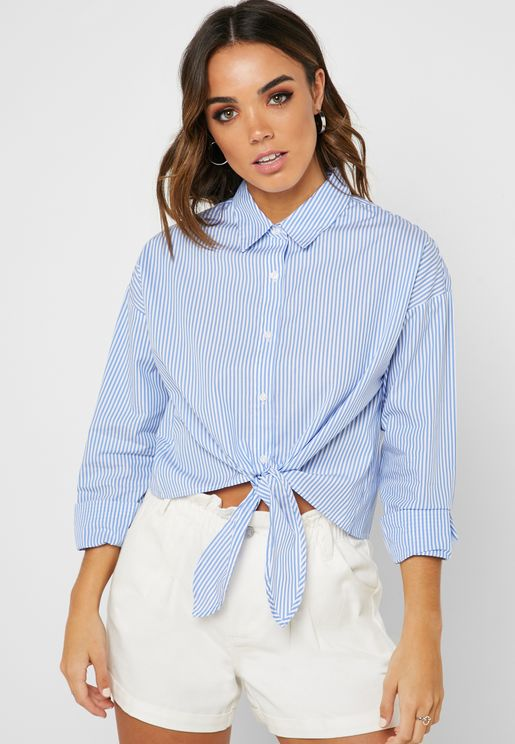 Pinstriped Tie-Front Shirt