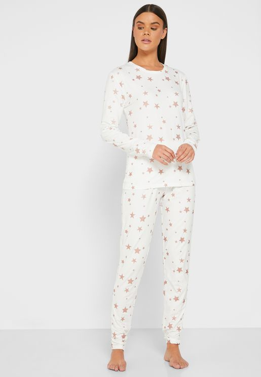 Rose Gold Star Print Pyjama Set