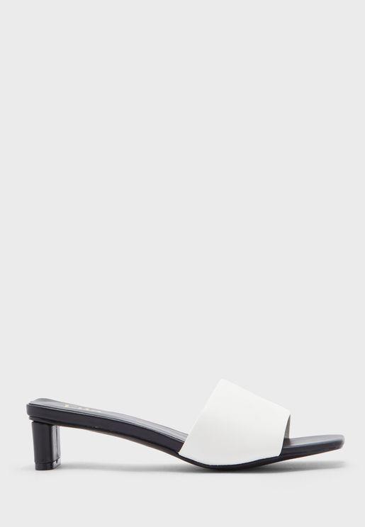 Square Toe Colourblock Mule Sandal