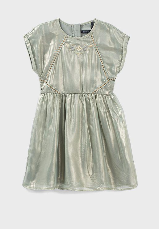 Youth Metallic Tulle Dress