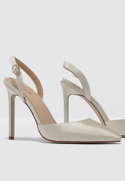Pointed Toe Sling Back Court Shoe In Satin