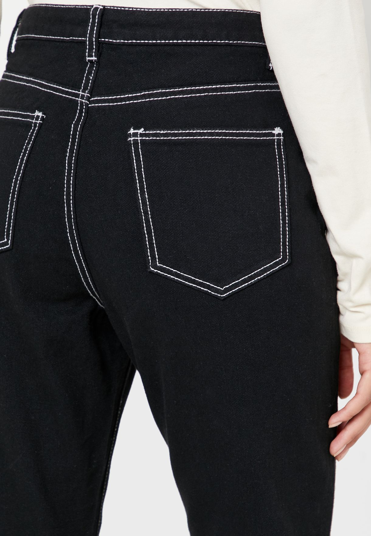 Contrast Stitch Cropped Flare Jeans