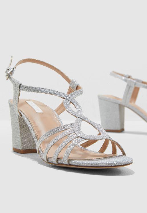 Silene Heeled Sandal - Metallic