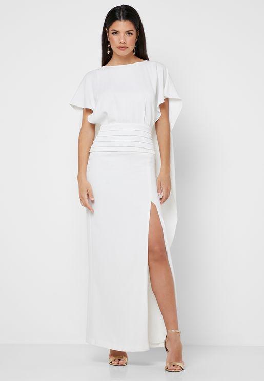 Monterose Front Split Sheer Back Maxi Dress