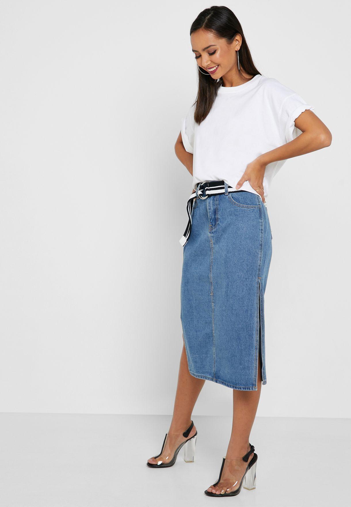 تنورة جينز بحزام