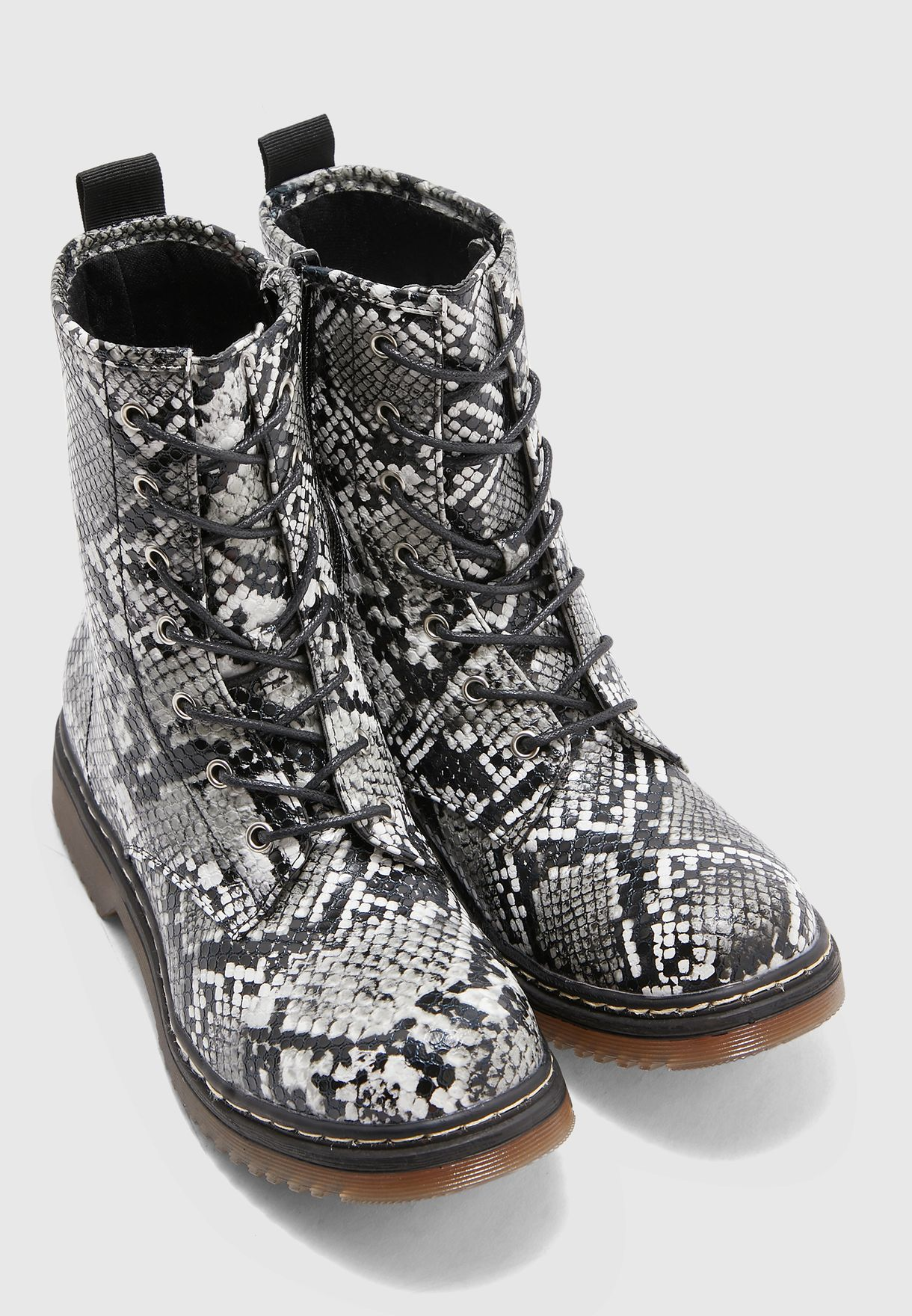Lace Up Ankle Boots In Snake Print