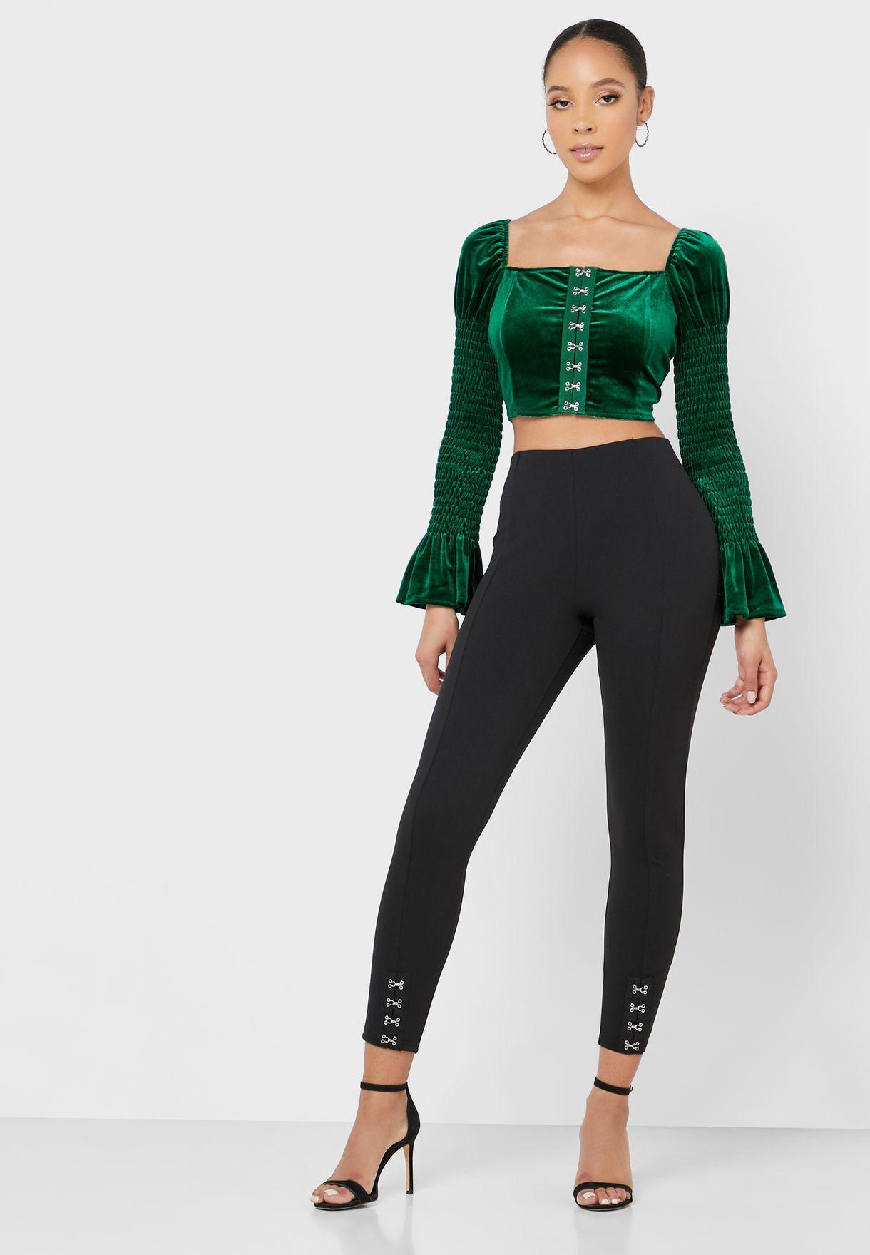 Velvet Shirred Sleeve Crop Top