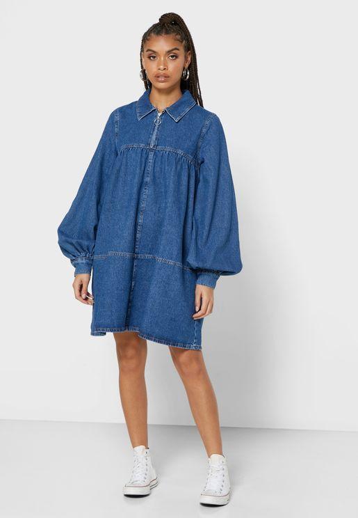 فستان جينز بسحاب