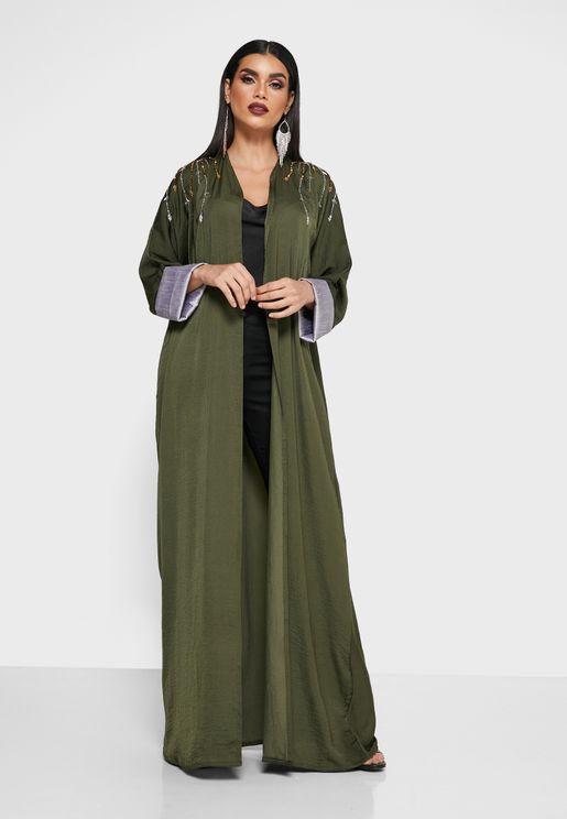 Embroidered Shoulder Abaya