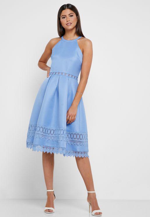 Lace Insert Halter Neck Dress