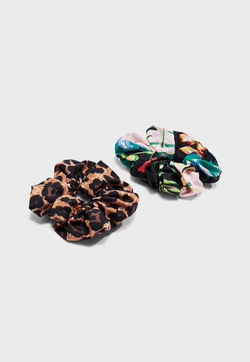 2 Pack Blossom   Scrunchie:Detail:JUNGLE/LEO