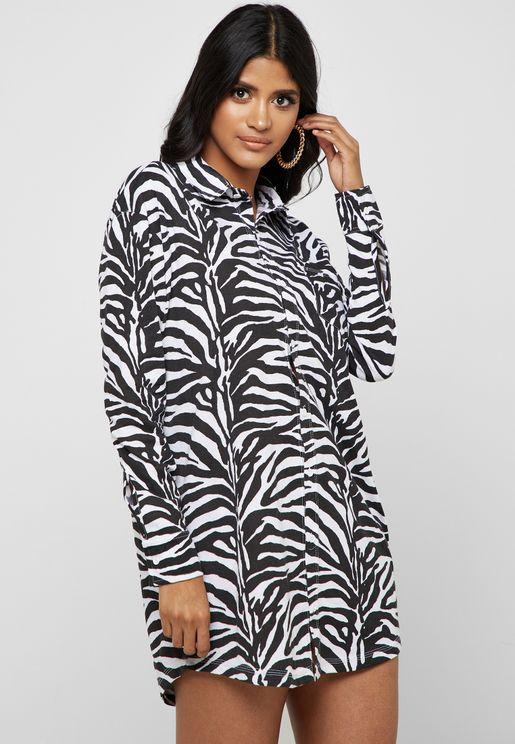 Zebra Print Oversized Shirt Dress