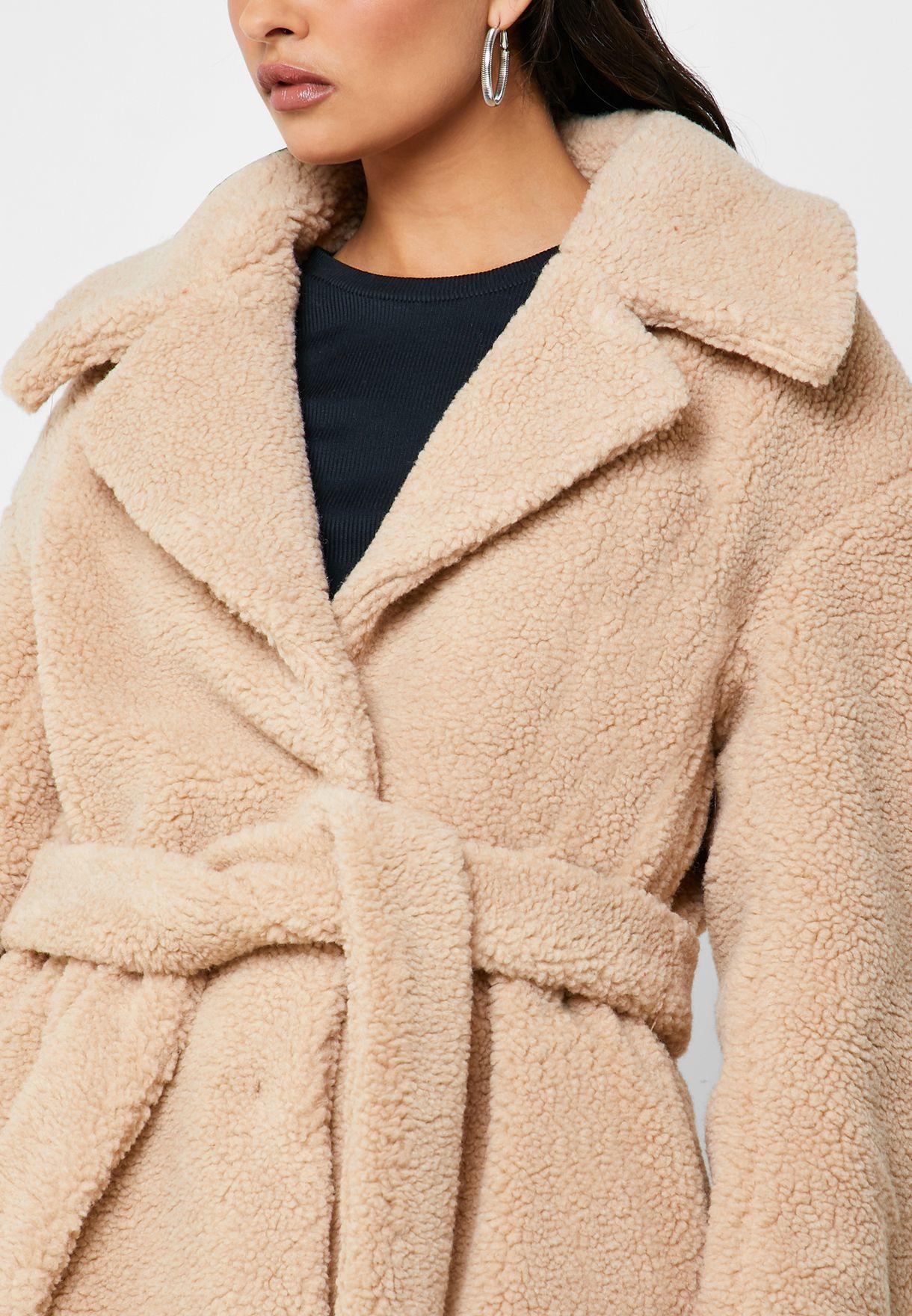 Longline Tie Waist Faux Fur Coat