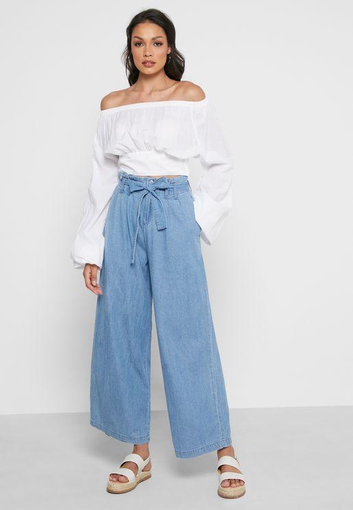 Front Tie Wide leg Jeans
