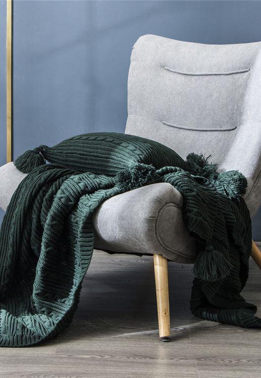 Knitted Pom Pom Blanket 130 X 160Cm