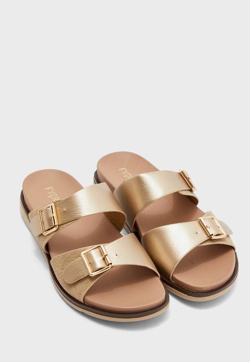 Buckle Detail Strap Flat Sandal