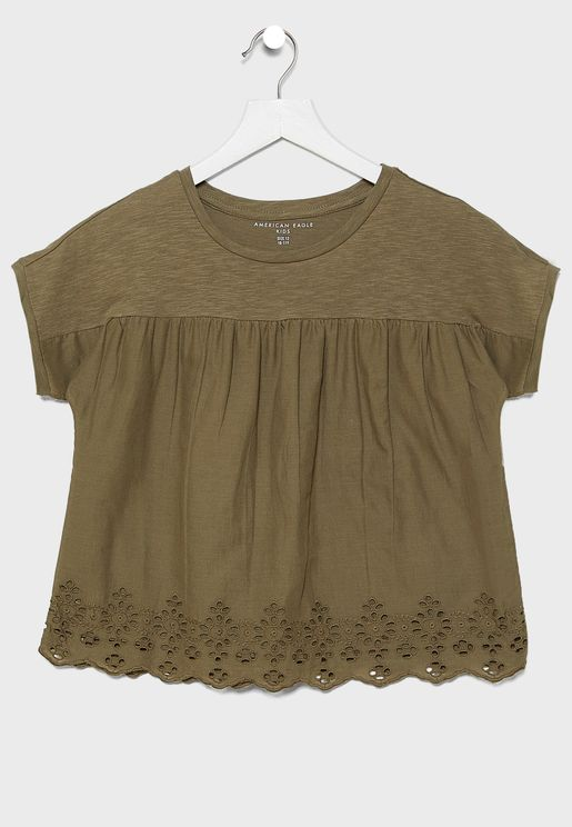Kids Embroidered Frill Detail Top