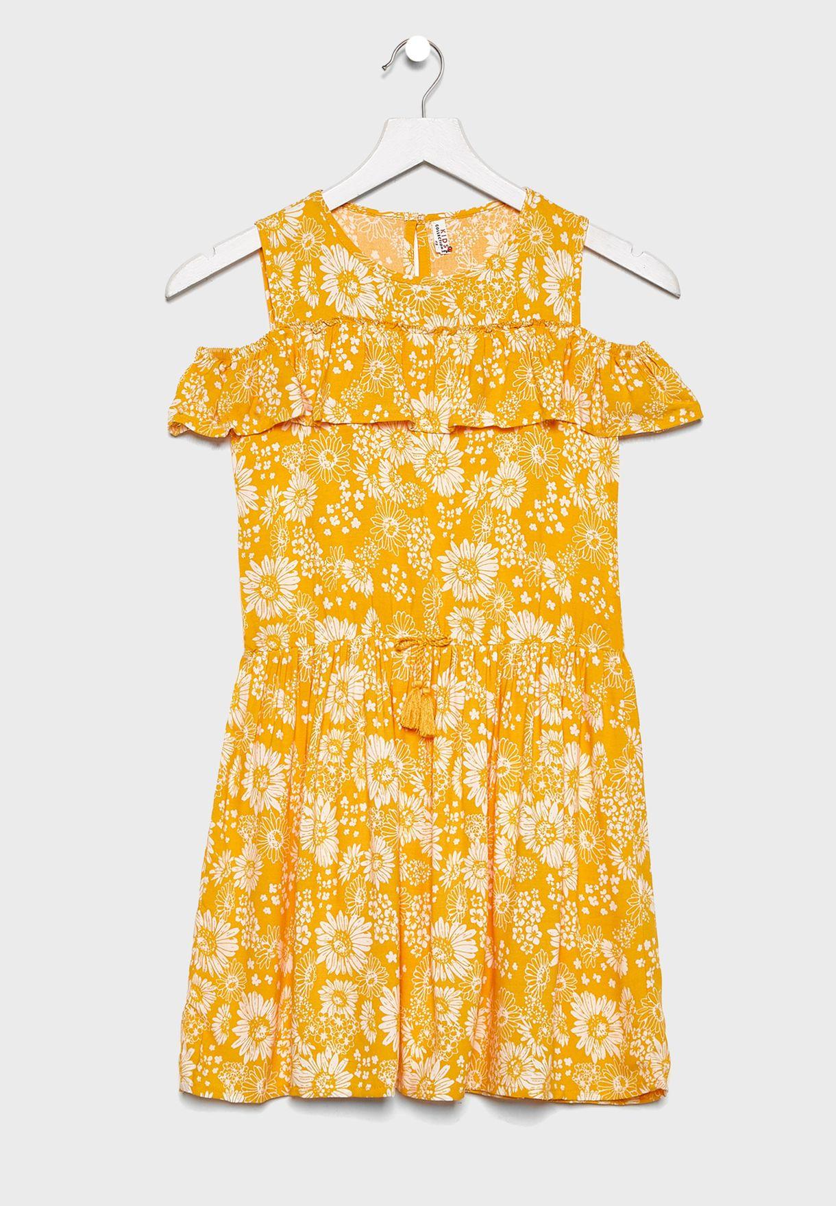 Kids Printed Cold Shoulder Dress