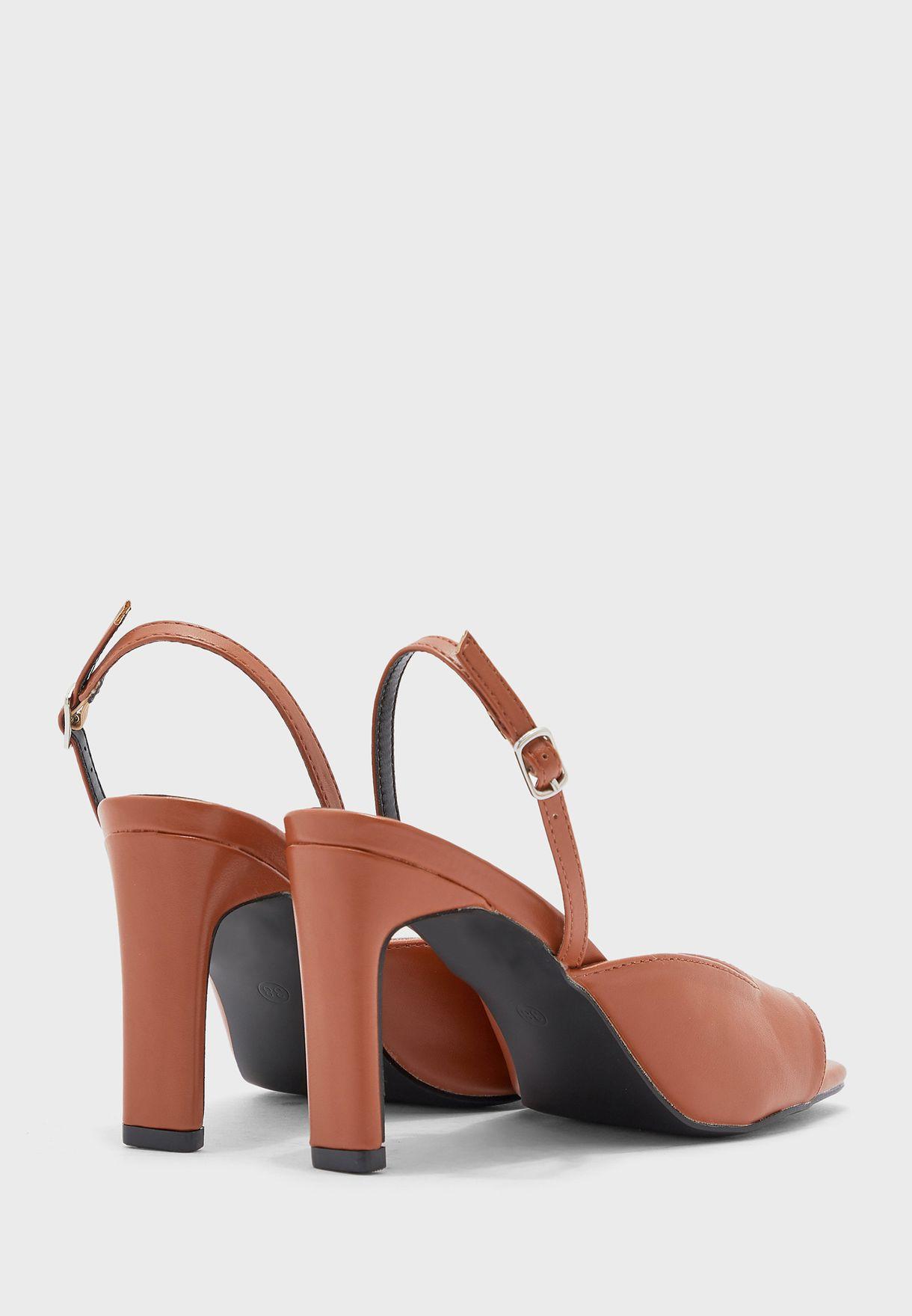 Square Toe Sling Back Block Heel Sandal