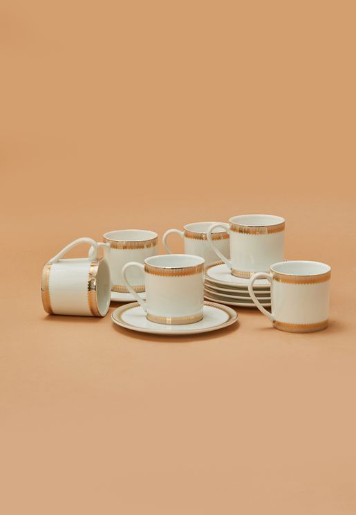 Set of 6 Gold Stripe Espresso Cup With Saucer