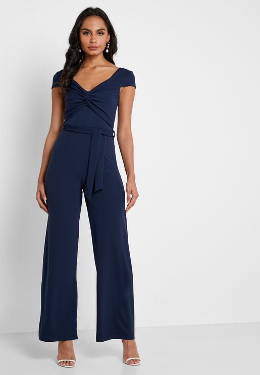 Front Knot Cape Sleeve Jumpsuit