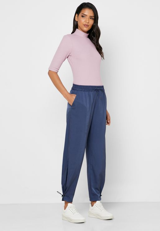 Pleated Hem Track Pants