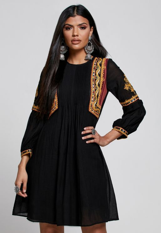 Pleat Detail Embroidered Dress