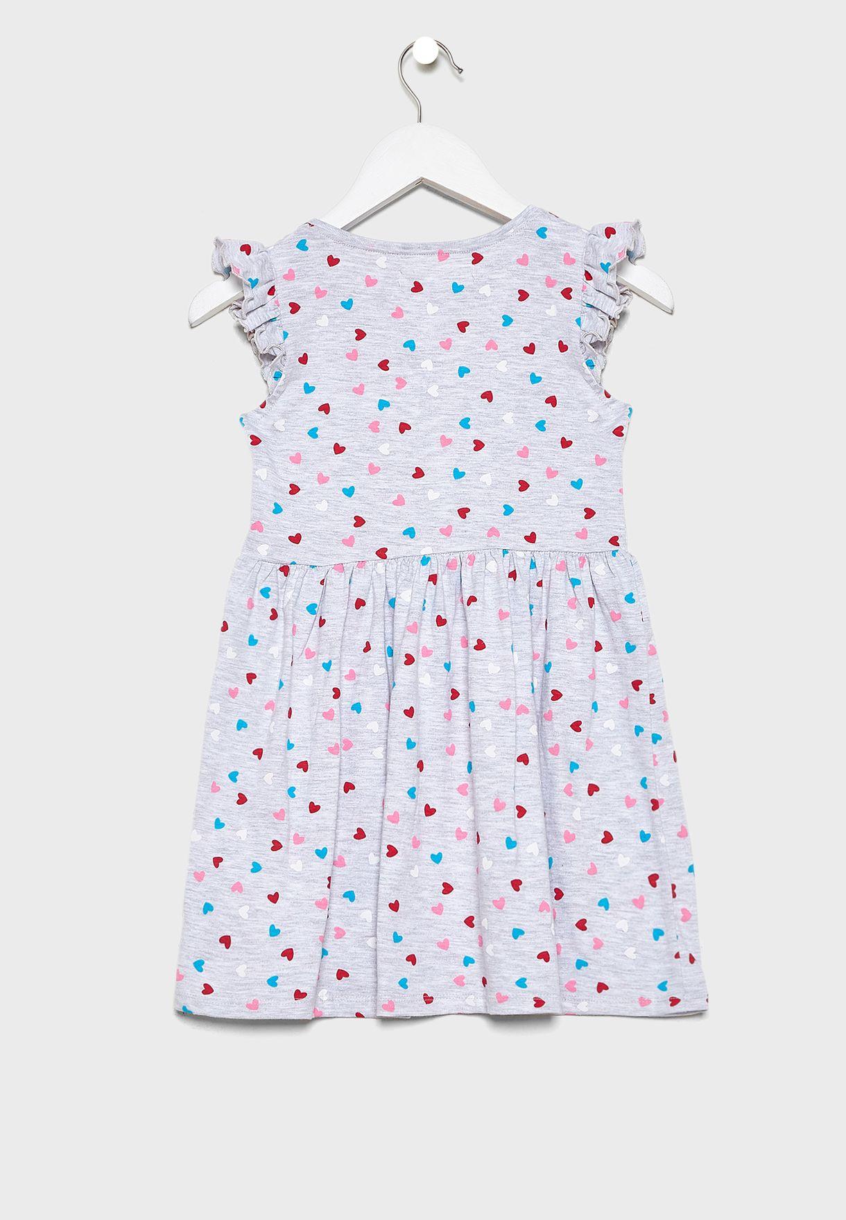 فستان مطبع باكمام كشكش