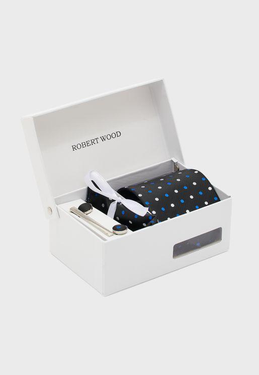 مجموعة هدايا (ربطة عنق + ازرار اكمام قميص + منديل + مشبك ربطة عنق)