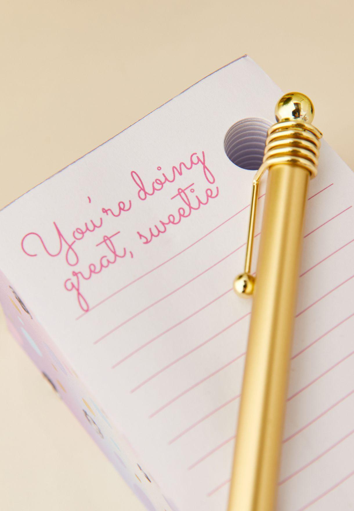 دفتر ملاحظات وقلم حبر