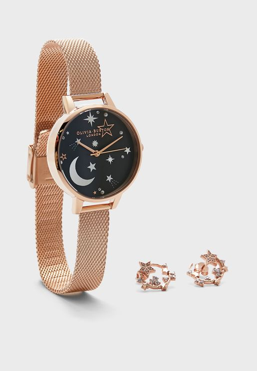 Analog Watch + Earrings Set