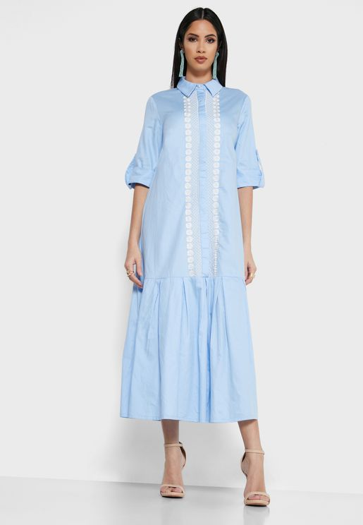 Pleated Hem Embroidered Shirt Dress