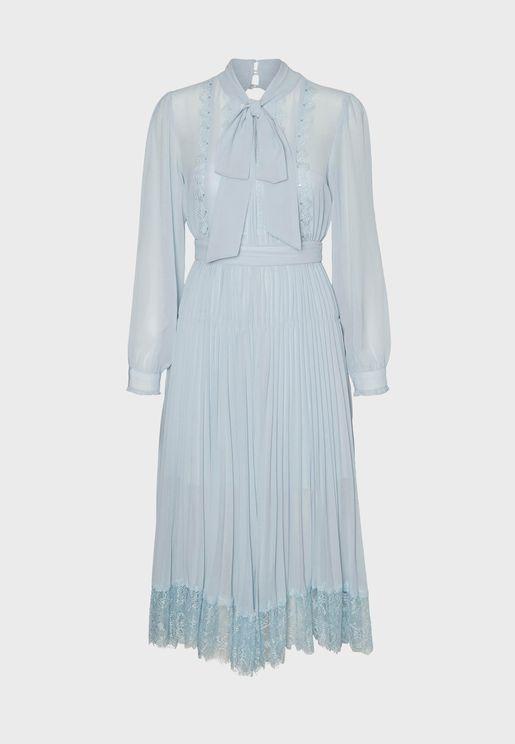 Lace Hem Neck Ribbon Detail Maxi Dress