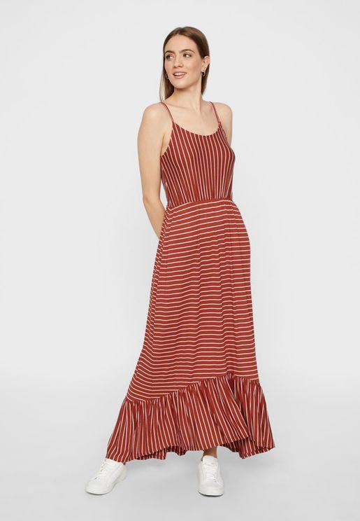 Ruffle Hem Cami Strap Striped Dress
