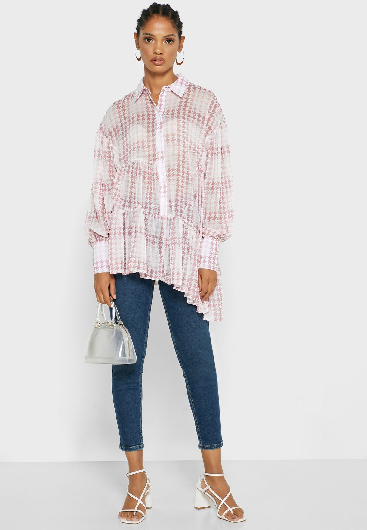 Asymmetric Checked Tiered Shirt