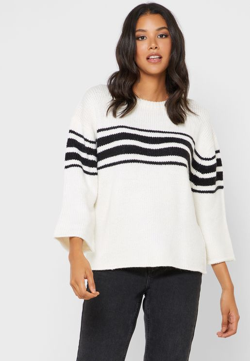 Striped Wide Sleeve Sweater