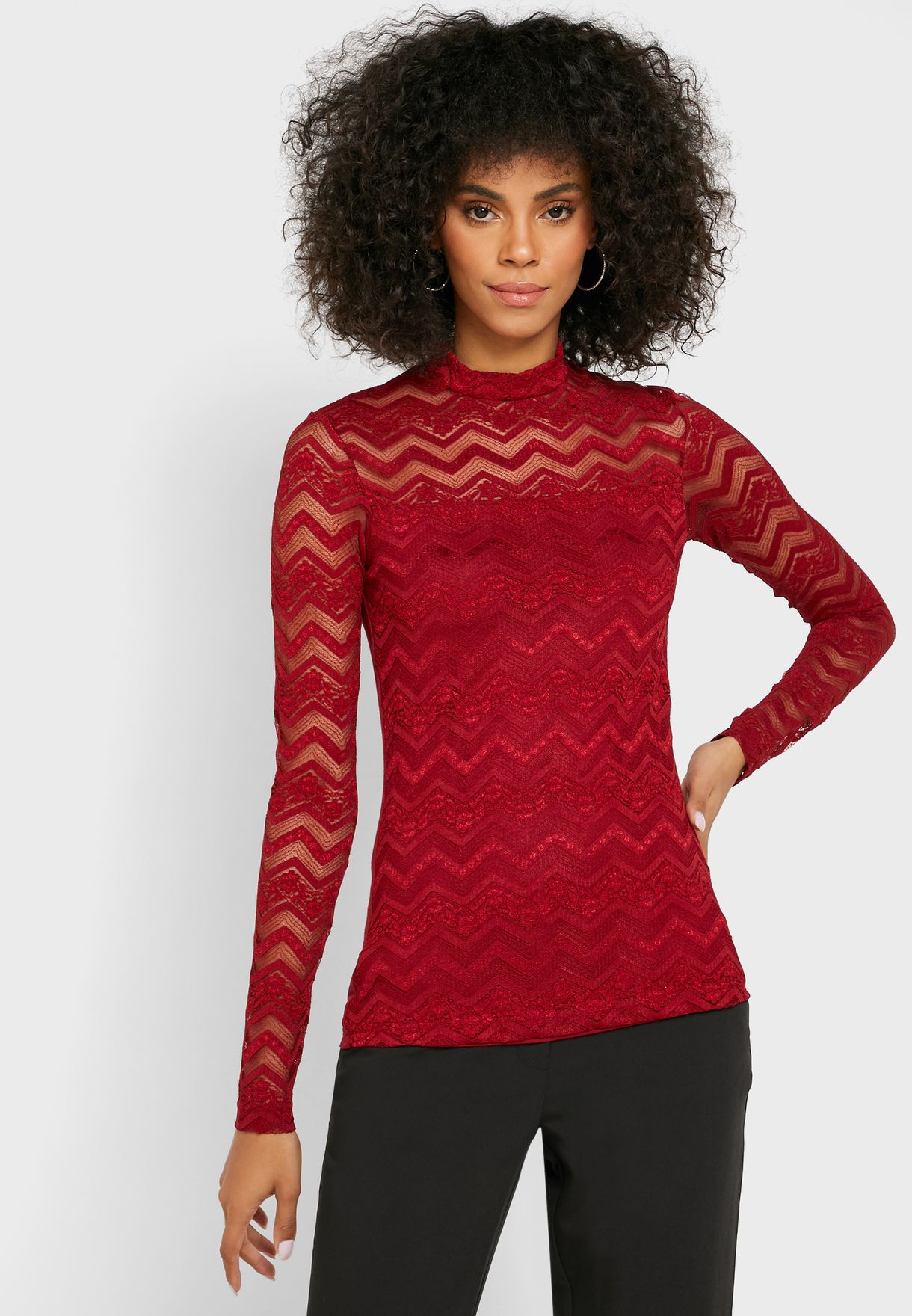 Turtle Neck Chevron Lace Top