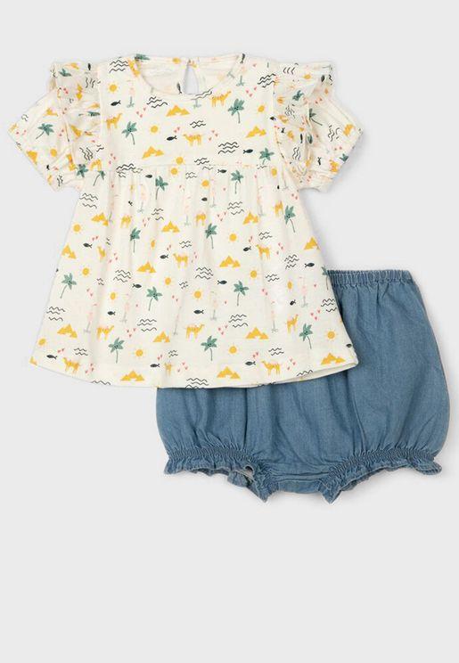 Infant Printed Top + Shorts Set