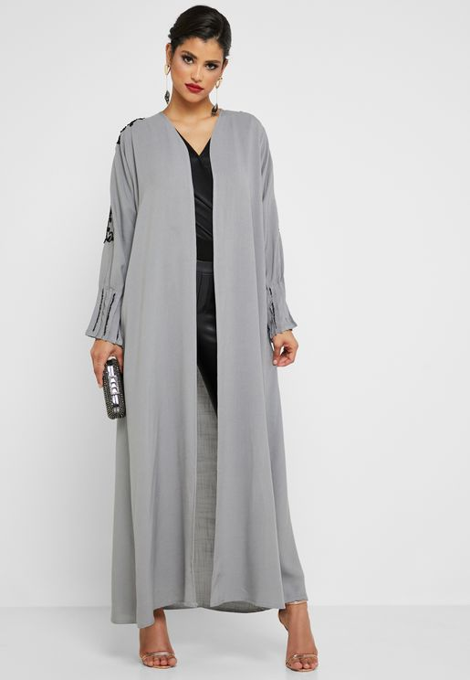 c99f06fd5705 Pleated Sleeve Embellished Abaya