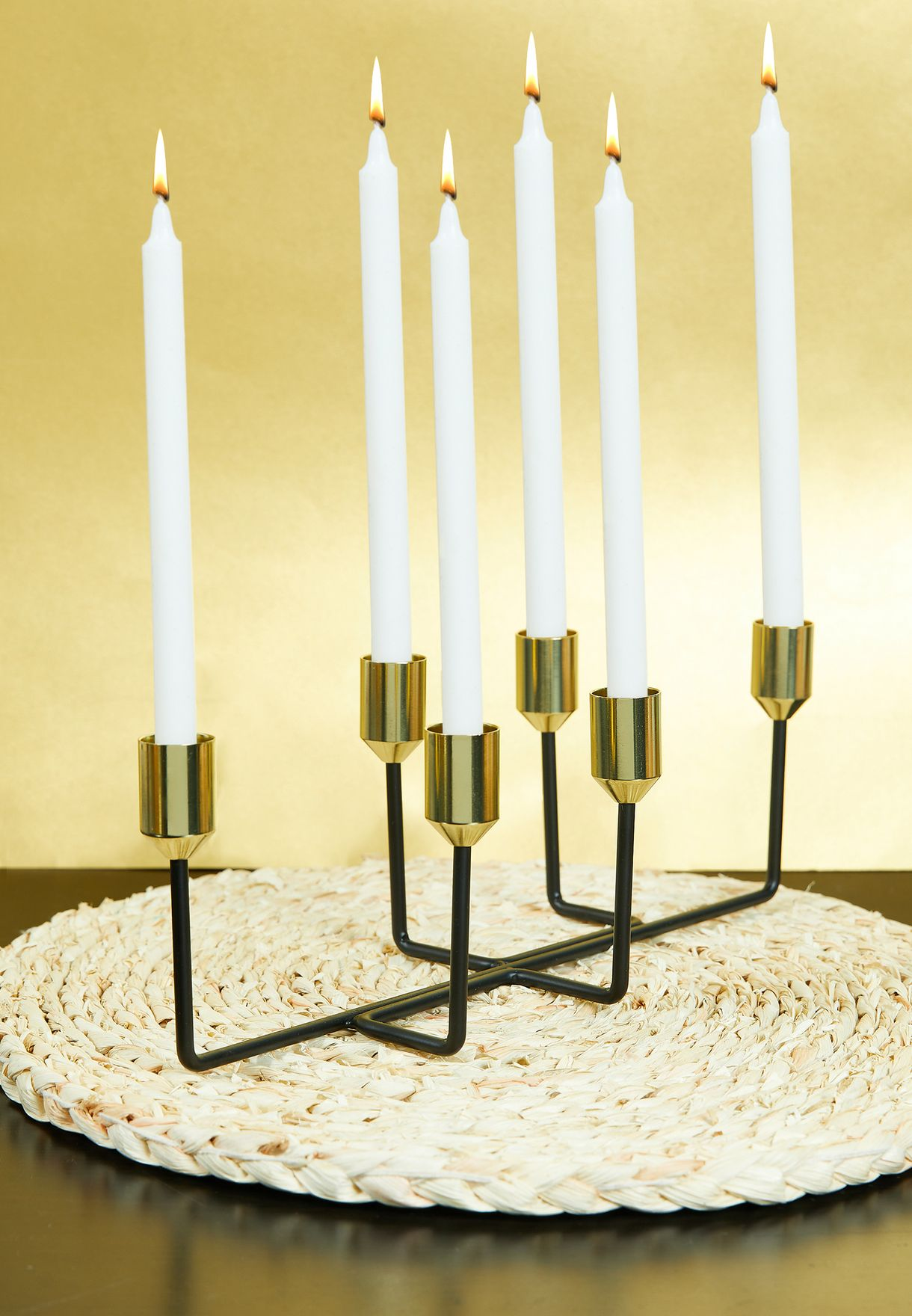 Black & Gold Plated Lineate Candle Holder
