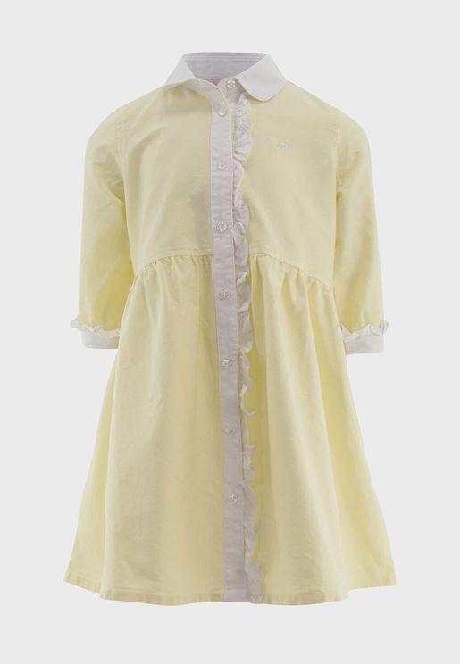 فستان بنمط قميص مع حواف كشكش