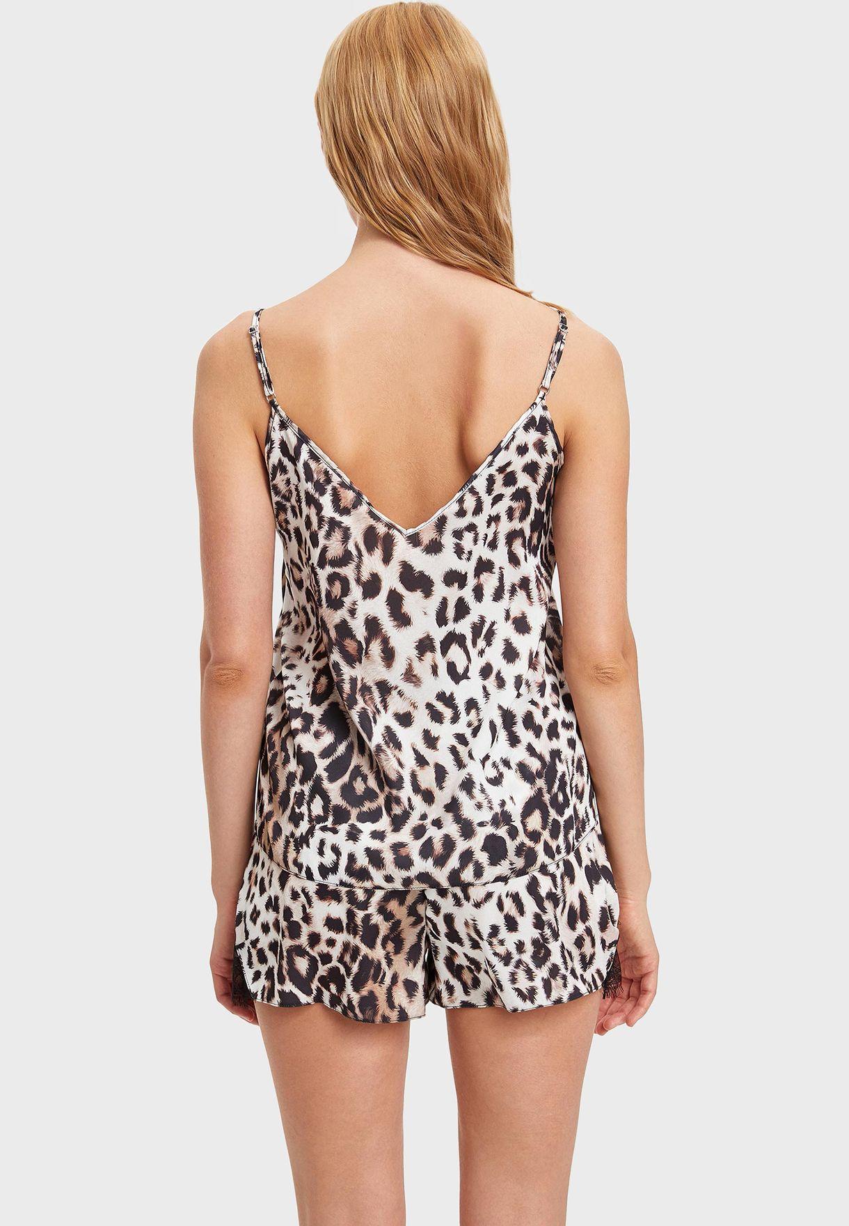 Lace Trim Printed Cami & Shorts Set