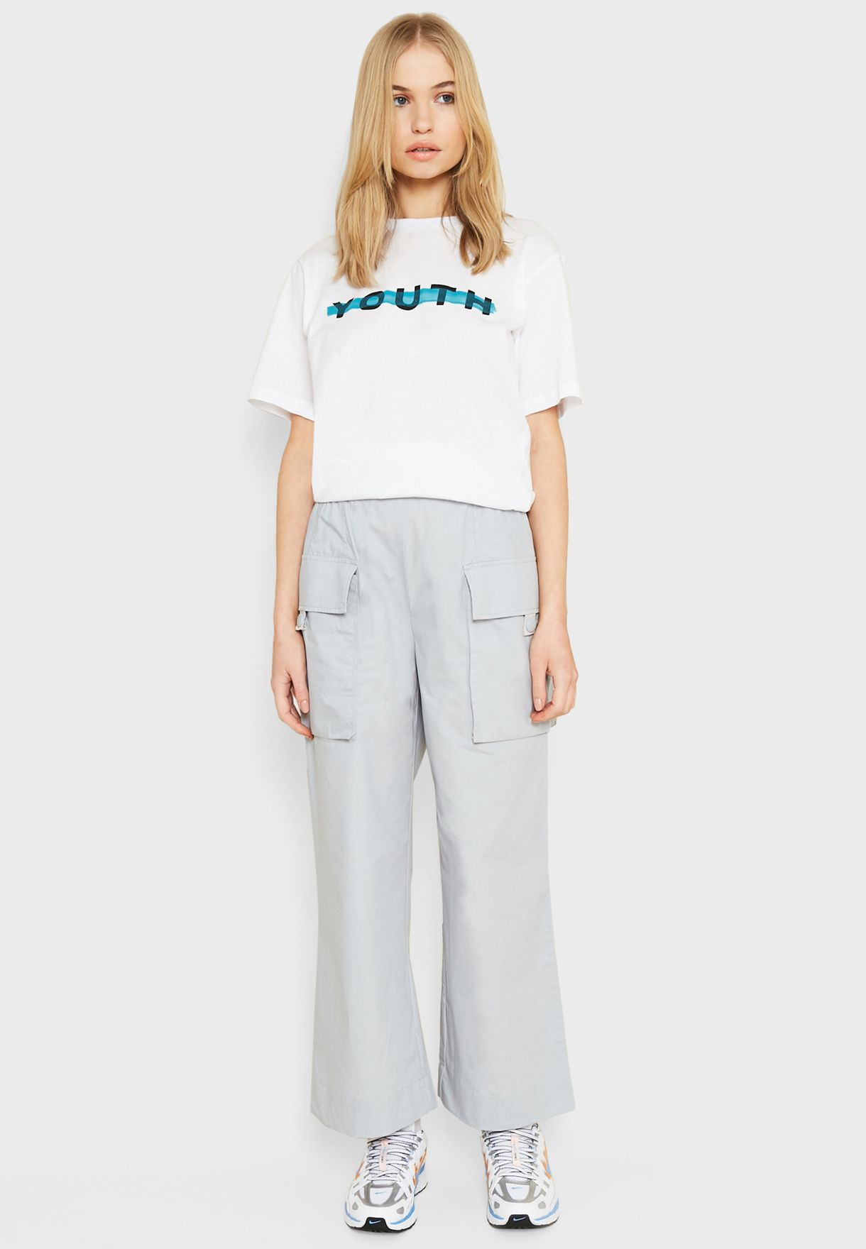 Pocket Detail Wide Leg Pants