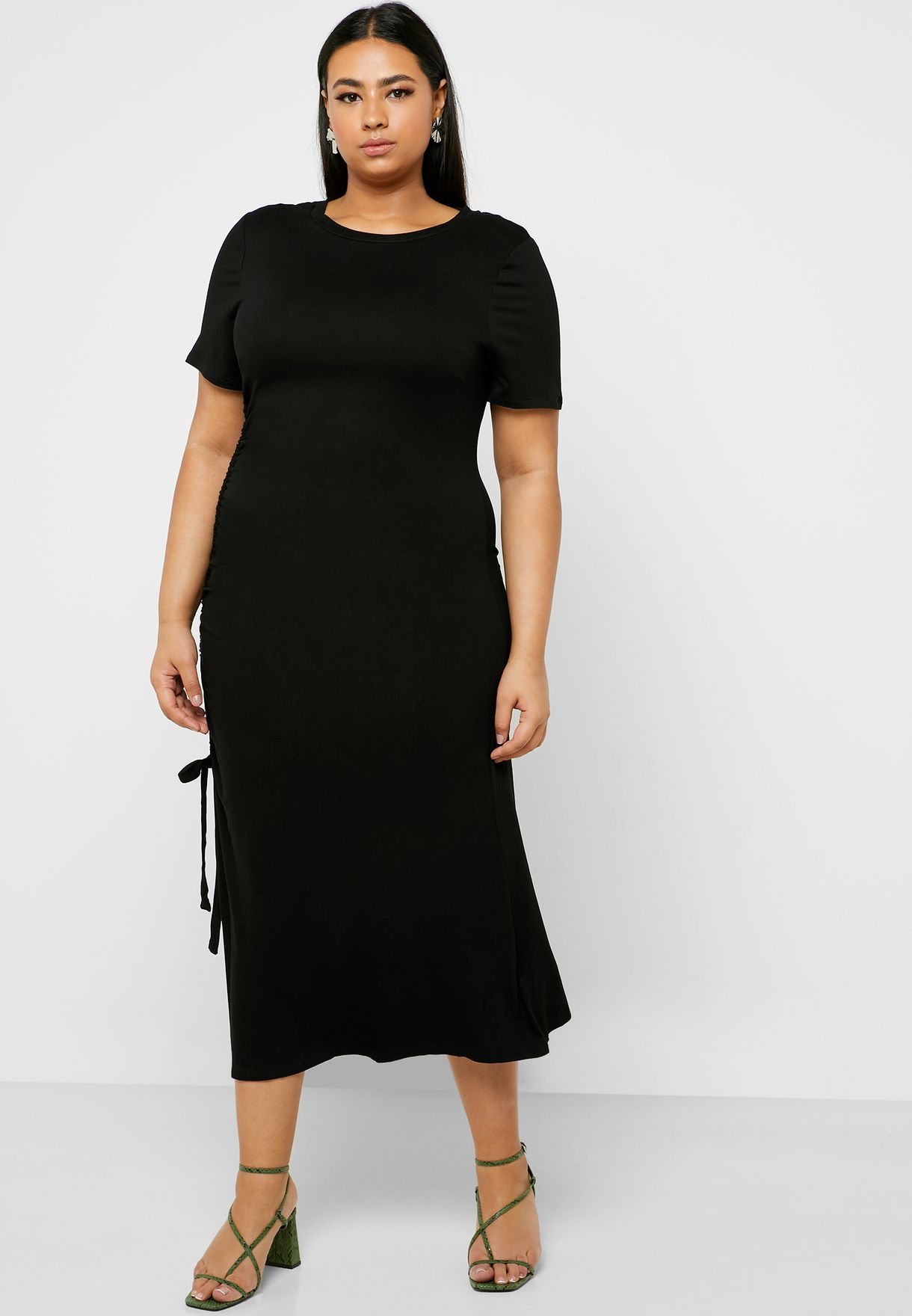 Side Ruched T-Shirt Dress