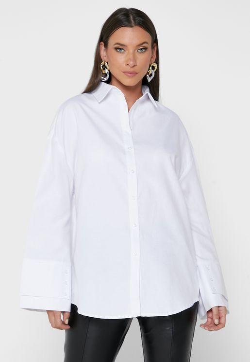 قميص واسع بازرار
