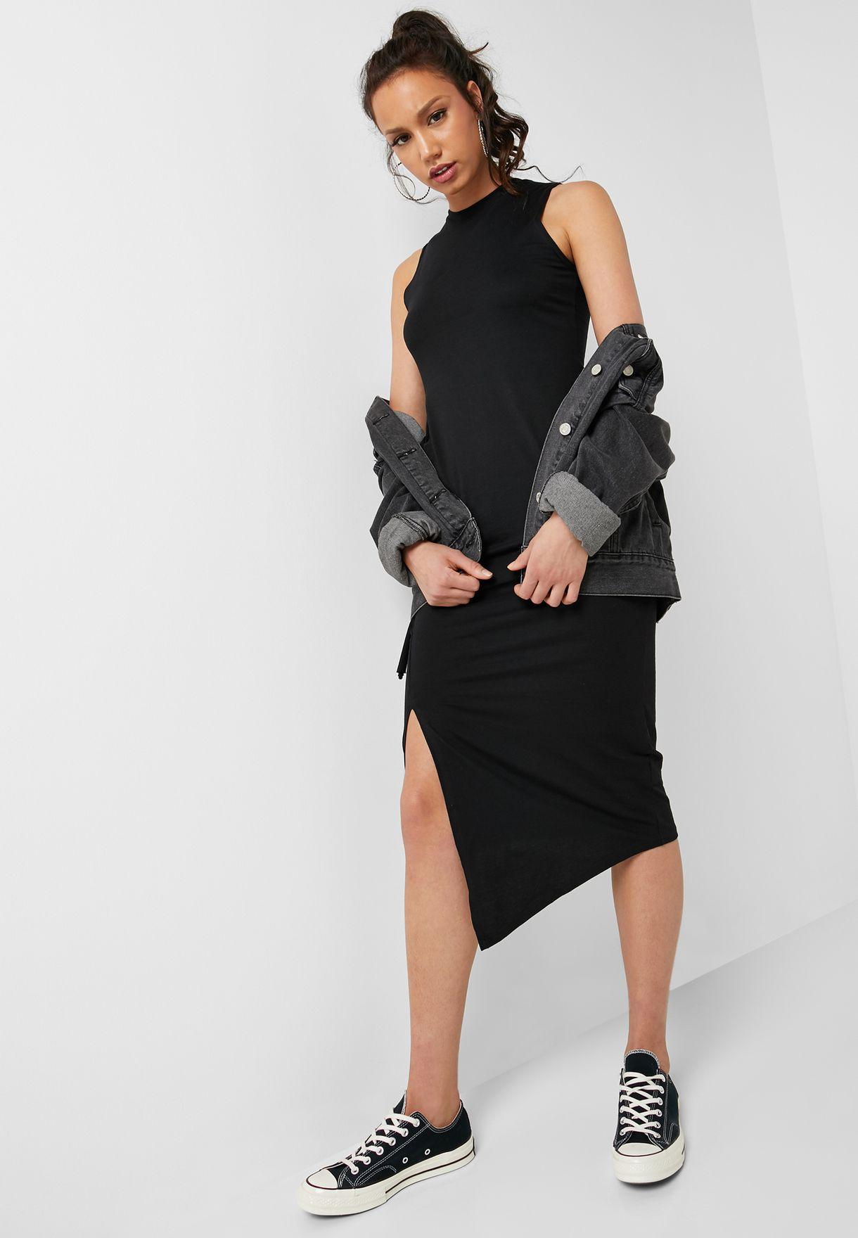 Asymmetric Side Split Sleeveless Dress