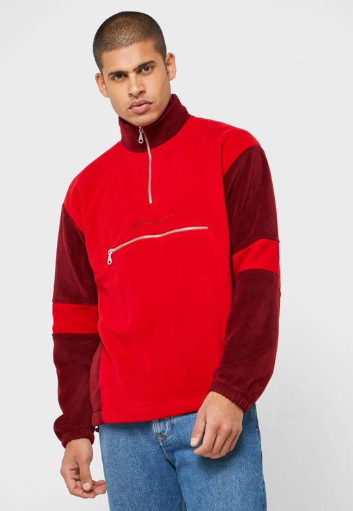 Color Block Funnel Neck Sweatshirt