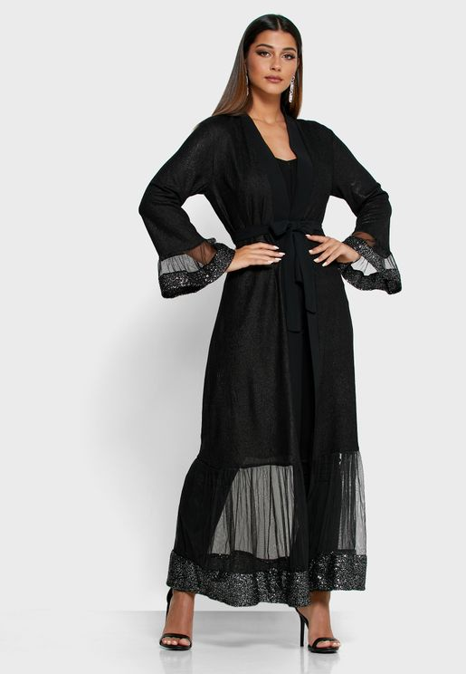 Sequin Mesh Trim Self Tie Abaya