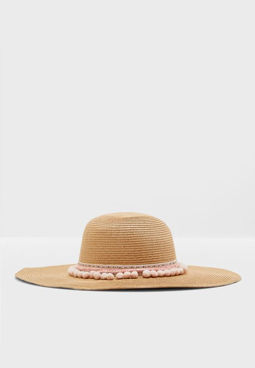 Band Detail Wide Brim Straw Hat
